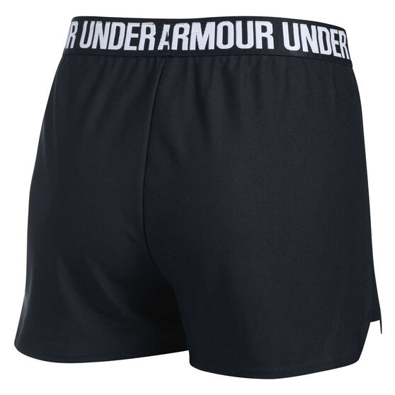 Under Armour Womens Play Up Training Shorts, Black / White, rebel_hi-res