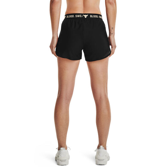 Under Armour Womens Project Rock Play Up Shorts, Black, rebel_hi-res