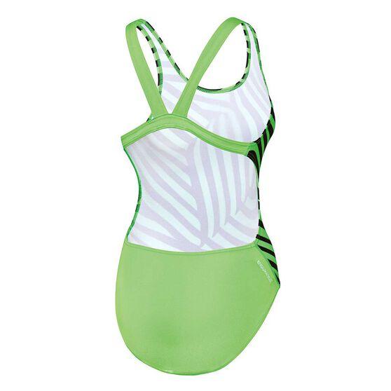 Speedo Girls School Colours Leaderback Swimsuit Black/Green 10, Black/Green, rebel_hi-res