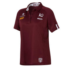QLD Maroons State of Origin 2020 Womens Performance Polo Maroon 8, Maroon, rebel_hi-res