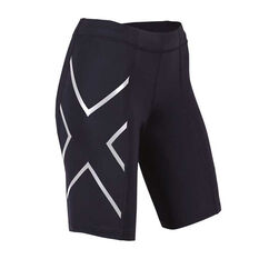 2XU Womens Compression Shorts Black / Silver XS, Black / Silver, rebel_hi-res