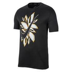 Nike Mens Fiesta Floral Running Tee Black S, Black, rebel_hi-res