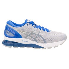 Asics GEL Nimbus 21 Lite Show Womens Running Shoes Grey / Blue US 6, Grey / Blue, rebel_hi-res