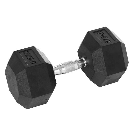 Celsius 27.5kg Rubber Hex Dumbbell, , rebel_hi-res