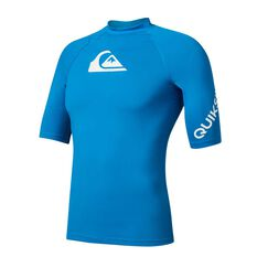 Quiksilver Mens All Time Rash Vest Blue S, Blue, rebel_hi-res