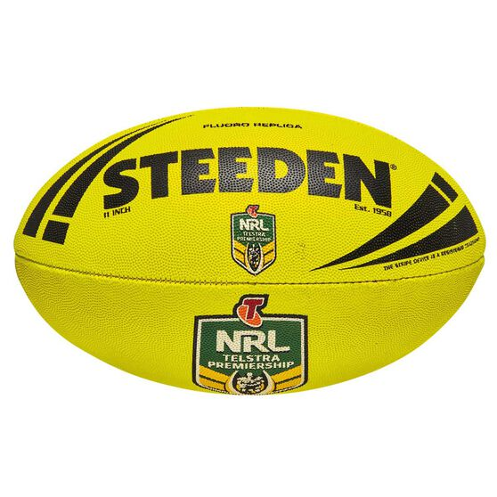 Steeden NRL Fluoro Replica Rugby League Ball Yellow 11in, , rebel_hi-res