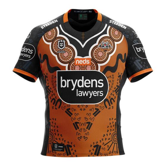 Wests Tigers Mens 2021 Indigenous Jersey, Orange, rebel_hi-res