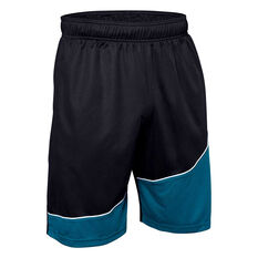 Under Armour Mens Baseline Basketball Shorts, Black, rebel_hi-res