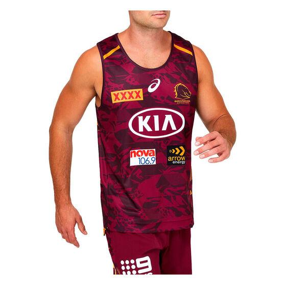 Brisbane Broncos 2021 Mens Training Singlet, Maroon, rebel_hi-res