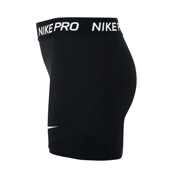 Nike Girls Pro Boy Leg Shorts, Black / White, rebel_hi-res