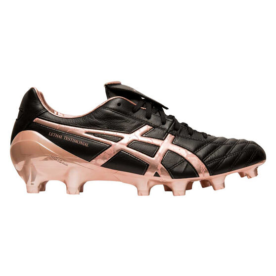 Asics Lethal Testimonial 4 Football Boots, Black / Rose Gold, rebel_hi-res