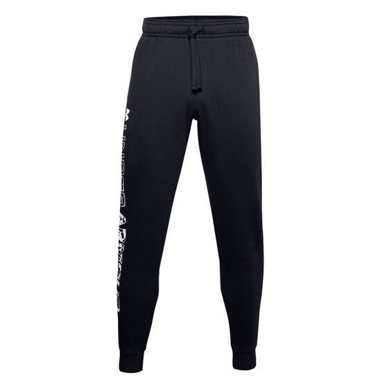 Under Armour Mens Rival Fleece Graphic Track Pants, Black, rebel_hi-res