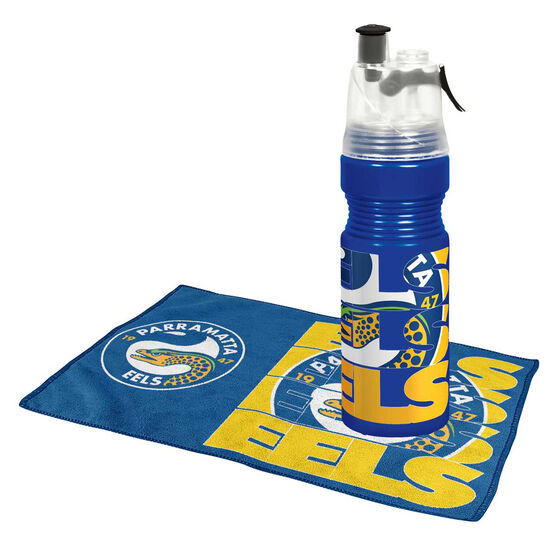 Parramatta Eels Water Bottle and Gym Towel Pack, , rebel_hi-res