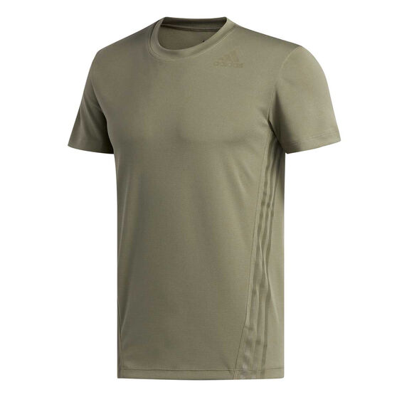 adidas Mens AEROREADY 3-Stripes Tee, Green, rebel_hi-res