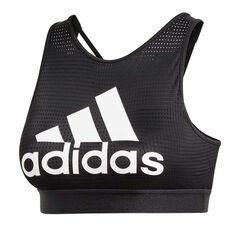adidas Womens 2.0 Halter Logo Sports Bra Black XS, Black, rebel_hi-res