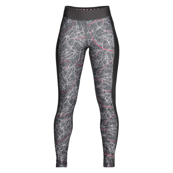 Under Armour Womens HeatGear Armour Printed Tights, Grey / Pink, rebel_hi-res