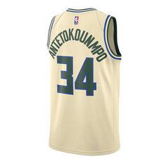 Nike Milwaukee Bucks Giannis Antetokounmpo 2020 Mens City Edition Jersey Beige S, Beige, rebel_hi-res