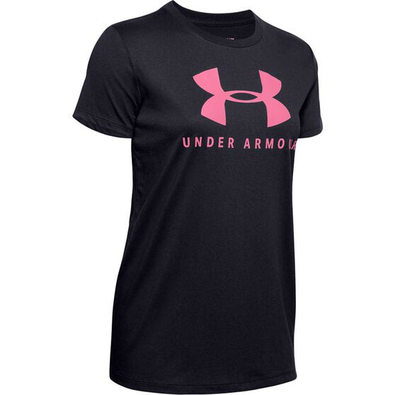Under Armour Womens Graphic Sportstyle Classic Tee, Black, rebel_hi-res