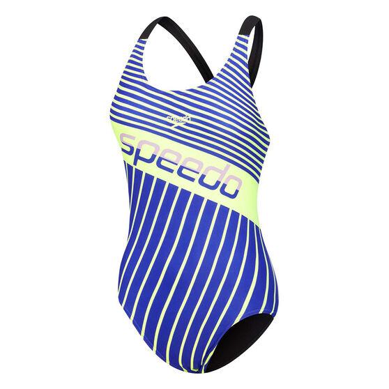 Speedo Womens High Leg Leaderback One Piece Swimsuit Blue 8, Blue, rebel_hi-res