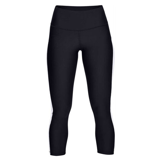 Under Armour Womens HeatGear Armour Ankle Crop Branded Tights Black XS, Black, rebel_hi-res