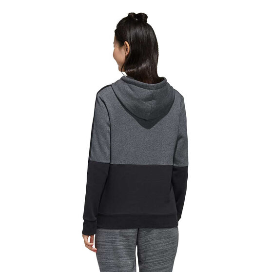 adidas Womens Essentials Colourblock Hoodie Grey / Black XS, Grey / Black, rebel_hi-res