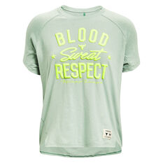 Under Armour Womens Project Rock Blood Sweat Respect Tee Green XS, Green, rebel_hi-res