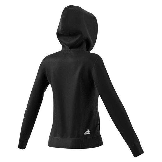adidas Womens Essential Linear Full Zip Hoodie Black / White XS, Black / White, rebel_hi-res