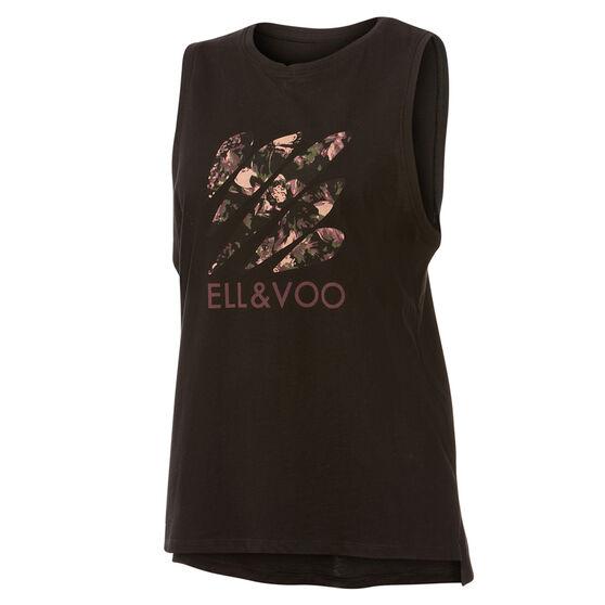 Ell & Voo Womens Taylor Logo Muscle Tank, Black, rebel_hi-res