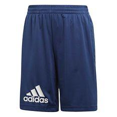 adidas Boys Training Gear Knit Shorts Blue / White 6 Junior, Blue / White, rebel_hi-res