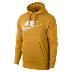 Nike Mens Sportswear Heritage Hoodie Gold / Black XS, Gold / Black, rebel_hi-res