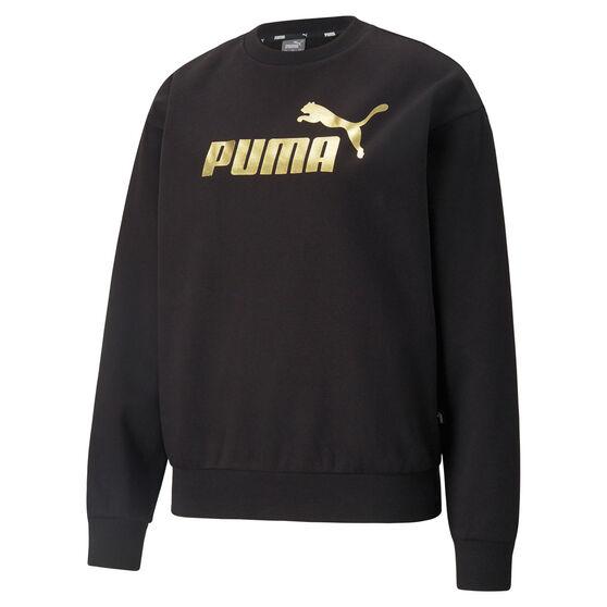 Puma Womens Essentials Metallic Logo Sweatshirt, Black, rebel_hi-res