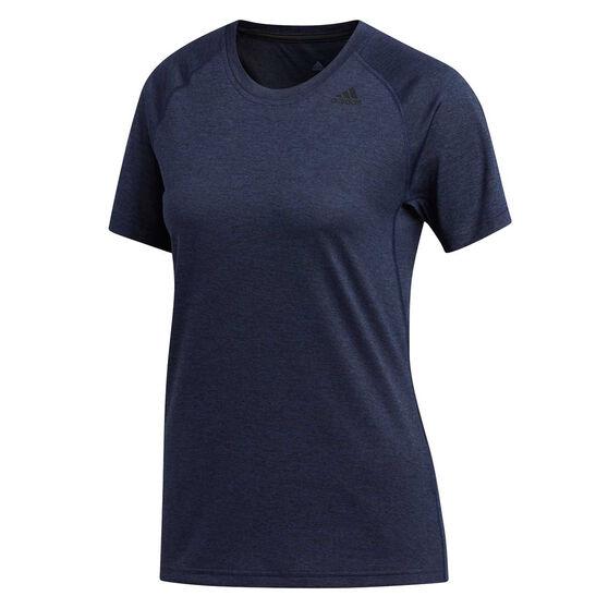 adidas Womens Tech Prime 3 Stripes Tee Navy, Navy, rebel_hi-res