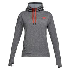 Under Armour Womens Featherweight Fleece Funnel Neck Top Charcoal / Coral XS Adult, Charcoal / Coral, rebel_hi-res