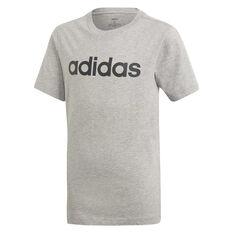 adidas Boys Essentials Linear Tee Grey/Black 5, Grey/Black, rebel_hi-res