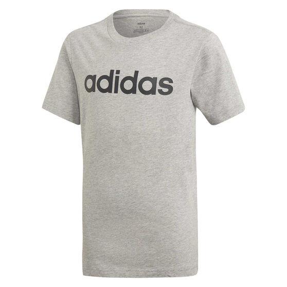 adidas Boys Essentials Linear Tee, Grey/Black, rebel_hi-res