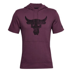 Under Armour Mens Project Rock Bull French Terry Sleeveless Hoodie, Maroon, rebel_hi-res