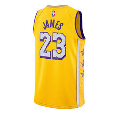 Nike Los Angeles Lakers LeBron James 2020 Mens City Edition Jersey Yellow S, Yellow, rebel_hi-res