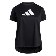 adidas Womens 3 Bar Logo Tee Plus Black 1XB, Black, rebel_hi-res