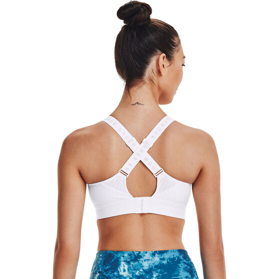 Under Armour Womens Infinity High Sports Bra, White, rebel_hi-res