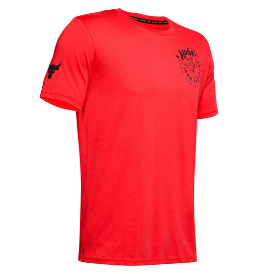 Under Armour Mens Project Rock Iron Paradise Tee, Red, rebel_hi-res