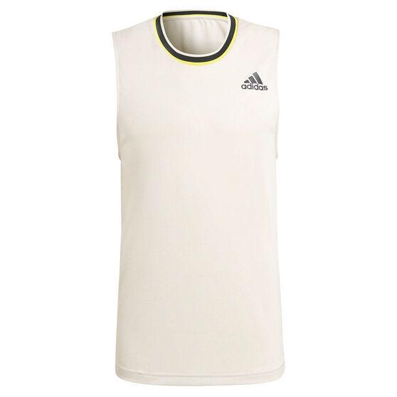 adidas Mens Primeblue Tennis Tank, White, rebel_hi-res