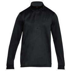 Under Armour Mens Armour Fleece Half Zip Longsleeve Shirt Black XS, Black, rebel_hi-res