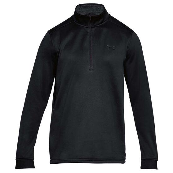 Under Armour Mens Armour Fleece Half Zip Longsleeve Shirt, Black, rebel_hi-res