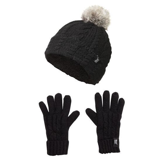 Heat Holders Kids Roll Up Pom Pom Beanie and Ski Gloves Set, , rebel_hi-res