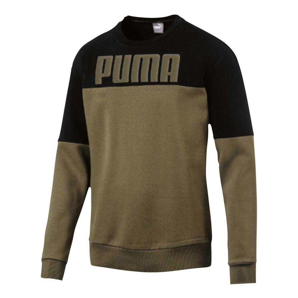 c743dc0dc9a6 Puma Mens Rebel Block Crew Sweater Khaki   Black XL