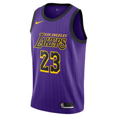 Nike Los Angeles Lakers LeBron James 2019 Mens City Jersey Purple S, Purple, rebel_hi-res