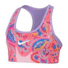 Nike Pro Girls Reversible Printed Sports Bra Pink / Purple XS, Pink / Purple, rebel_hi-res