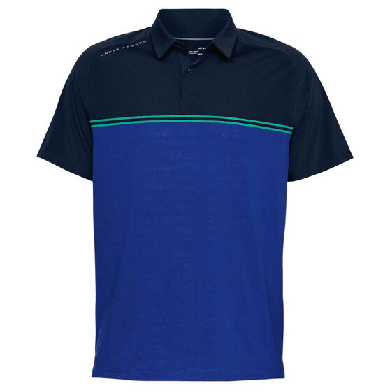Under Armour Mens Threadborne Calibrate Polo Shirt, Navy / Green, rebel_hi-res