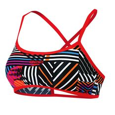 Speedo Womens Stripe Crossback Crop Top Stripe 8 Adults, Stripe, rebel_hi-res