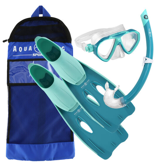Aqua Lung Sport Junior Panda Snorkel Set Green S / M, Green, rebel_hi-res